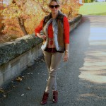 Macy's vest, Anthro top, Zara trousers