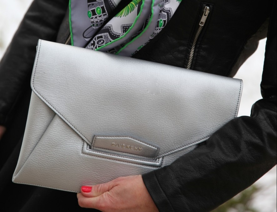 Givenchy envelope clutch, Hermes silk