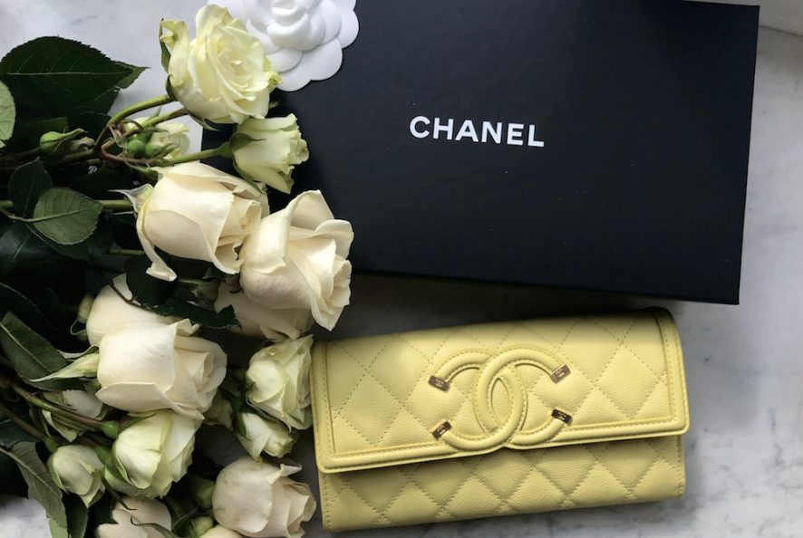 Chanel spring summer 2018 flap wallet yellow