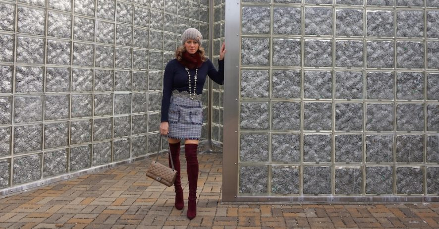 zara tweed skirt with gem front pockets