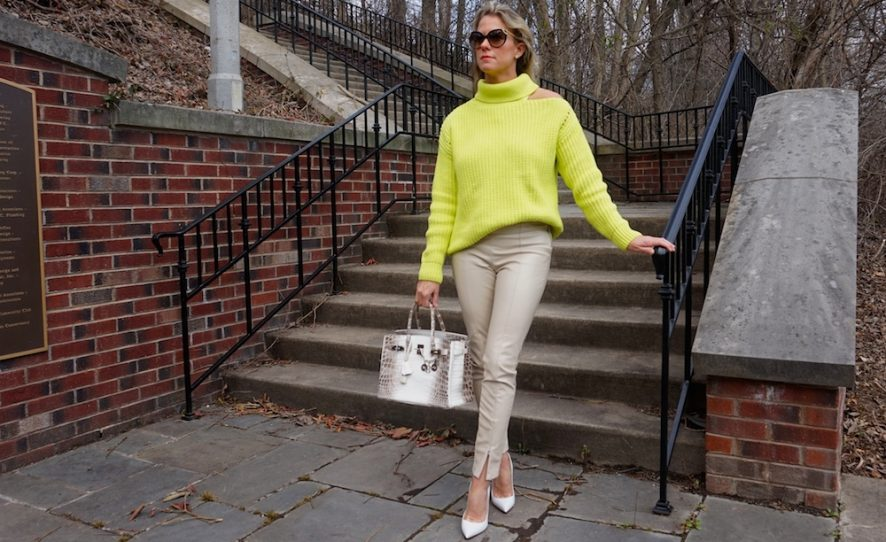 ASTR the label neon cut out sweater